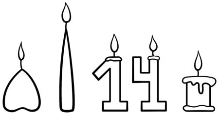 Set of five burning candles of different shapes in black lines. White background, vector.