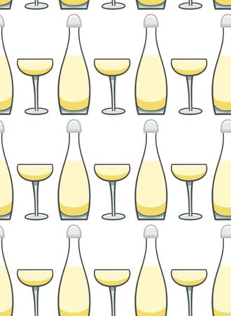Bottle and glass of champagne seamless pattern. White background, vector. Illustration