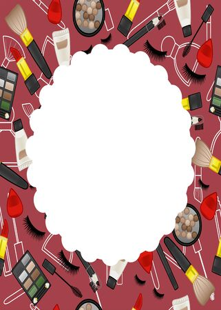 Red frame with beauty products seamless pattern. False eyelashes, mascara brushes, lipsticks, blush balls, applicators, eyeshadow palettes, cream tubes, eyebrow pencils and makeup brushes. White round place for text, vector.