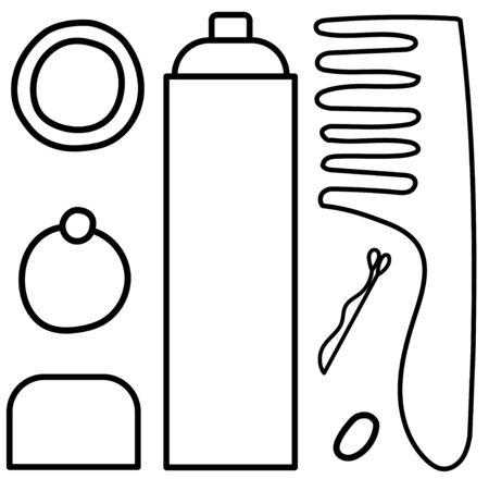 Set of bottle of hair spray, metal hairpin, three hair bands and wooden comb in black lines. White background, vector.