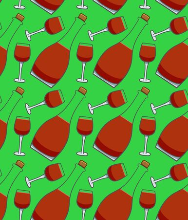 Bottle and glass of red wine seamless pattern. Green background, vector. Illustration