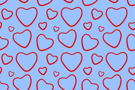 Red line hearts seamless pattern. Blue background, vector. Illustration