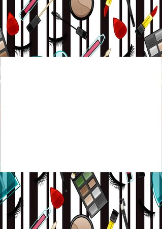Copy space with beauty products pattern. White background with black vertical lines, vector. Illustration