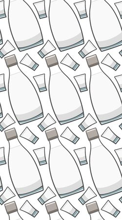 Bottle and glass of vodka seamless pattern. White background, vector.