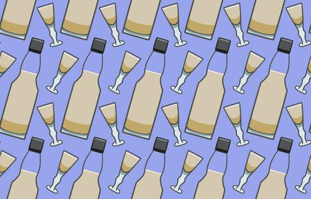 Bottle and glass with sherry seamless pattern. Purple background, vector. Illustration