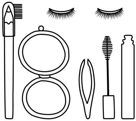 Miroir de poche, mascara, pince à épiler, crayon à sourcils et faux cils sertis de lignes noires. Fond blanc, vecteur.