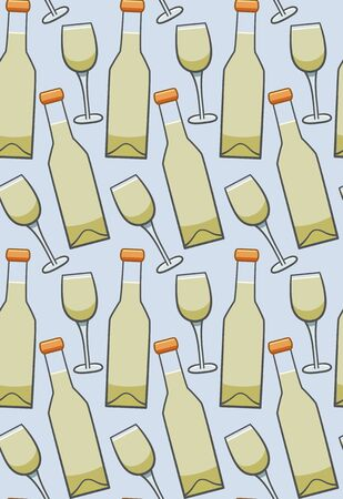 Bottle and glass of white wine seamless pattern. Blue background, vector.