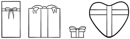Four gift boxes for Valentines day set in black lines. White background, vector.