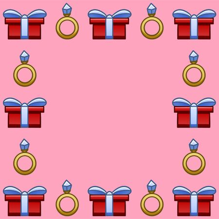 Square frame with red giftboxes with blue ribbons and bows and golden rings with blue diamonds for Saint Valentines day. Pink background, vector.