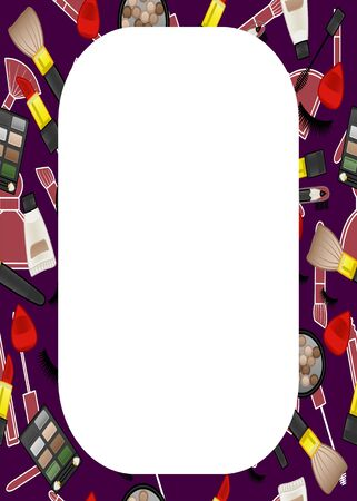 Purple rectangle vertical frame with beauty products pattern. White place for text, vector. Illustration