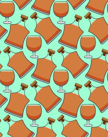 Bottle and glass of cognac seamless pattern. Turquoise background, vector.