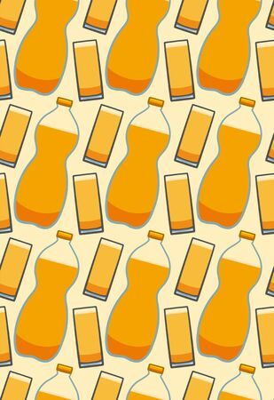 Bottle and glass of orange soda seamless pattern. Beige background, vector. Illustration
