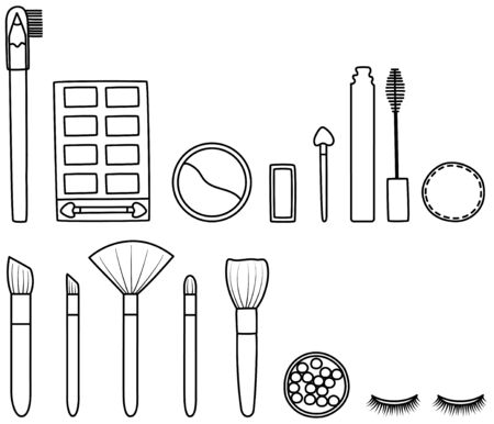 Set of makeup accessories in black lines. Eyebrow pencil, eyeshadow palette, sculpting powder, applicator, mascara, cotton pad, makeup brushes, blush balls, false eyelashes. White background, vector.