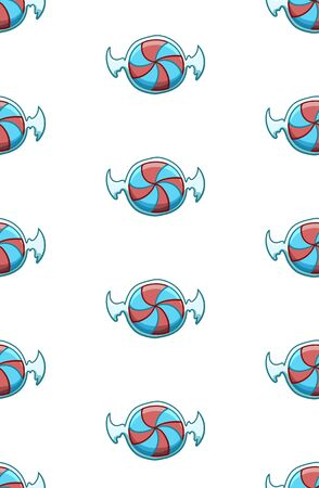 Red and blue striped candies in transparent wrapper seamless pattern. White background, vector.