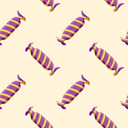 Candies in purple and yellow striped wrapper seamless pattern. Beige background, vector. Ilustração