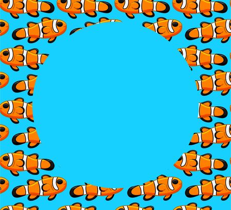 Frame with Clownfish pattern. Blue background, vector. Vectores