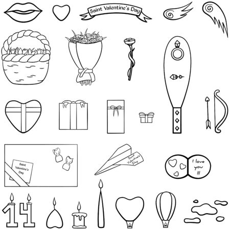Saint Valentines Day big set in black lines. Flower bouquets, candles, jewerly, giftboxes, Cupids wings, bow and arrow, lips, heart, banner, card, paper airplane, sky lanterns, clouds. Vector. Illustration