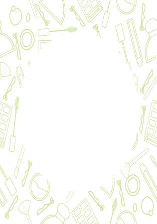 Cadre avec motif de maquillage en lignes vertes. Pinceau de maquillage, mascara, brillant à lèvres, parfum, palette de fards à paupières, épingle à cheveux, bandeau et poudre sculptante. Place ronde pour le texte. Fond blanc, vecteur. Vecteurs