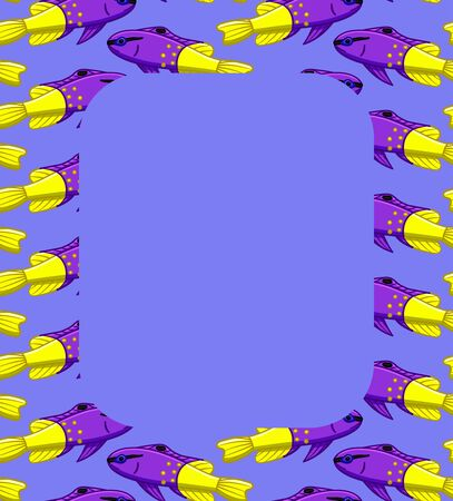 Rectangle vertical frame with Royal gramma fishes pattern. Purple background, vector.