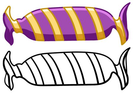 Candy in purple wrapper with yellow strips in colored and line versions. White background, vector.