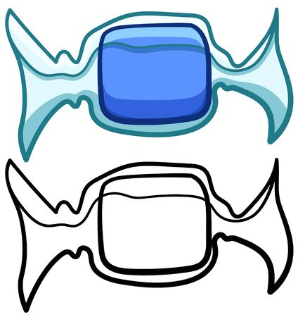Square blue candy in transparent wrapper in colored and line versions. White background, vector. Illustration