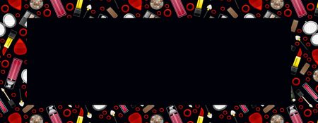 Black background banner with seamless pattern of pink lip gloss, pocket mirror, lipsticks, cleanser, hair bands, eyeshadow palettes and applicators. Place for text, vector.