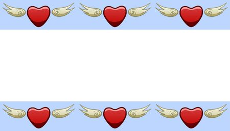 Blue frame with red hearts with wings. White place for text, vector.