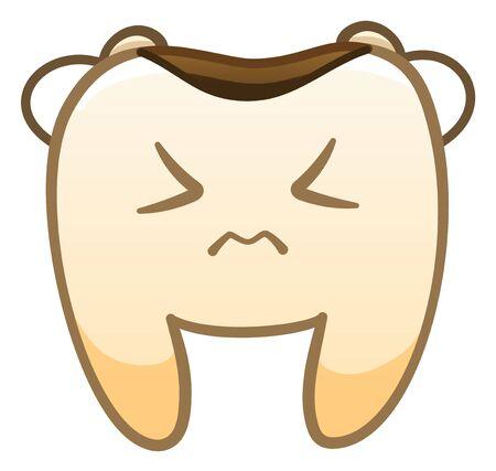 Isolierte Cartoon trauriger Zahn mit Karies für den Internationalen Zahnarzttag. Weißer Hintergrund, Vektor.