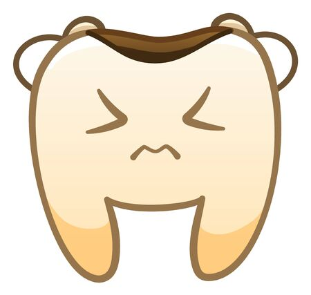 Isolated cartoon sad tooth with caries for International Dentist Day. White background, vector.