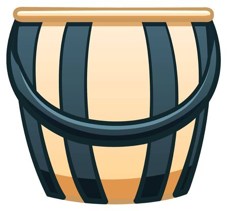Isolated cartoon blue and yellow stripped plastic bucket with a blue handle. Bucketful for cleaning and gardening. White background, vector. Vectores