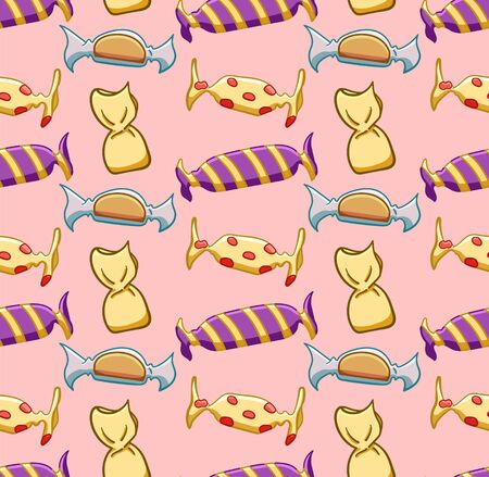 Yellow candies seamless pattern. Pink background, vector.
