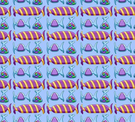 Purple candies seamless pattern. Blue background, vector.