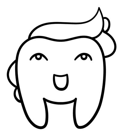 Isolated cartoon smiling tooth with toothpaste hairstyle in black lines for International Dentist Day. White background, vector.
