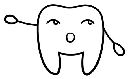 Isolated cartoon black line tooth pointing to something for International Dentist Day. White background, vector. Illustration