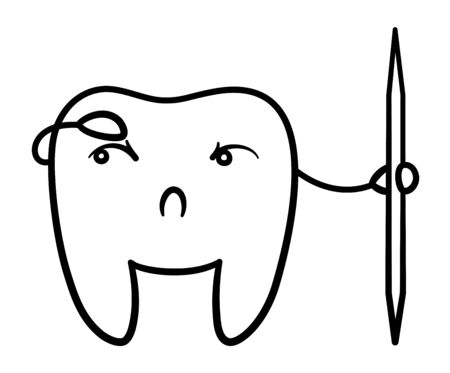 Isolated cartoon black line tooth with toothpick for International Dentist Day. White background, vector. Vettoriali