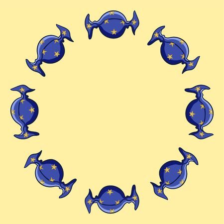 Round frame made of candies in blue with yellow stars wrapper. Yellow background, vector. Illusztráció