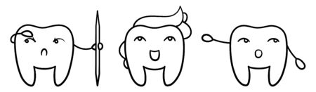 Isolated cartoon teeth set in black lines for International Dentist Day. Happy tooth with paste hairstyle, pointing one and with toothpick one. White background, vector. Illustration