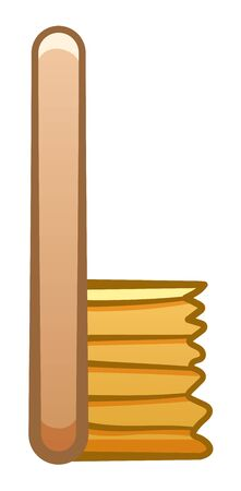Cartoon isolated wooden brush for cleaning. White background, vector. 일러스트
