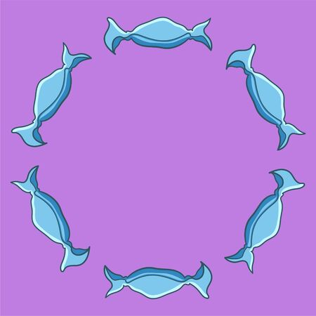 Round frame made of candies in blue wrapper. Purple background, vector. Ilustracja
