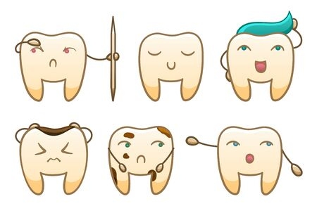 Six isolated cartoon teeth set for International Dentist Day. White background, vector.