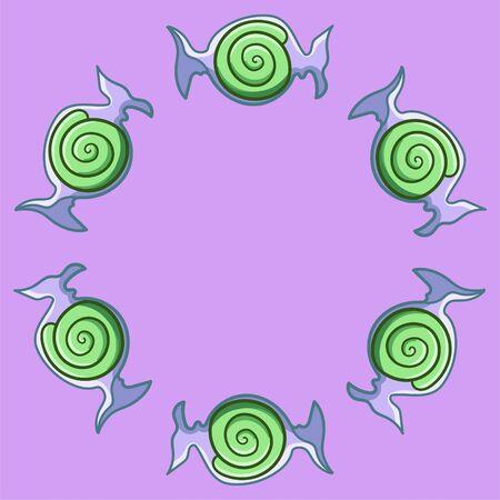 Round frame made of green swirled candies in transparent wrapper. Pink background, vector. Illusztráció