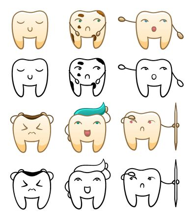 Isolated cartoon teeth set in color and in black lines for International Dentist Day. White background, vector. Illustration