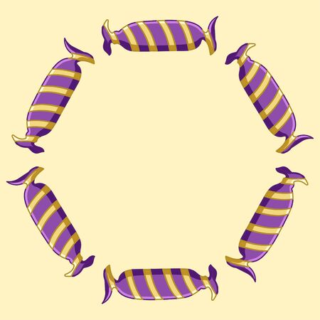 Round frame made of oval candies in purple with yellow stripes wrapper. Yellow background, vector.