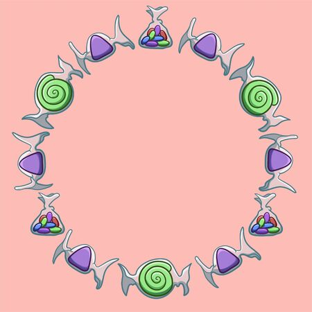 Round frame made of green swirled, purple triangular and jelly beans candies in transparent wrapper. Pink background, vector.