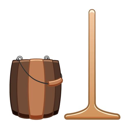 Cartoon isolated wooden mop and bucket for cleaning. White background, vector. 일러스트