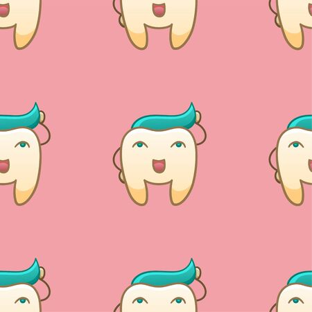 Cartoon teeth with turquoise paste hairstyle seamless pattern for International Dentist Day. Pink background, vector. Illustration