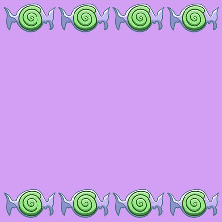 Purple copy space with green swirled candies in transparent wrapper. Vector. Illusztráció
