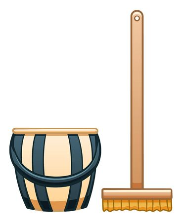 Cartoon isolated wooden mop with brush and plastic stripped bucket for cleaning. White background, vector.