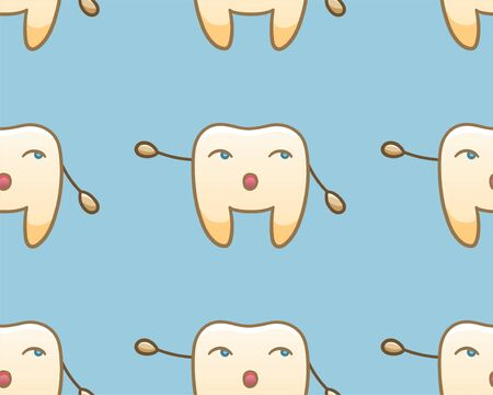 Cartoon teeth pointing to something seamless pattern for International Dentist Day. Blue background, vector.