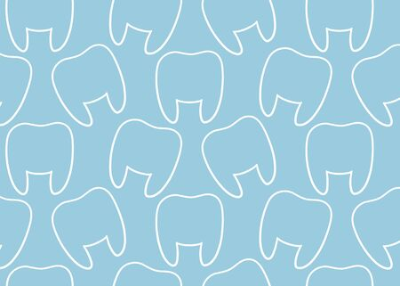 White line teeth single pattern for International Dentist Day. Blue background, vector.